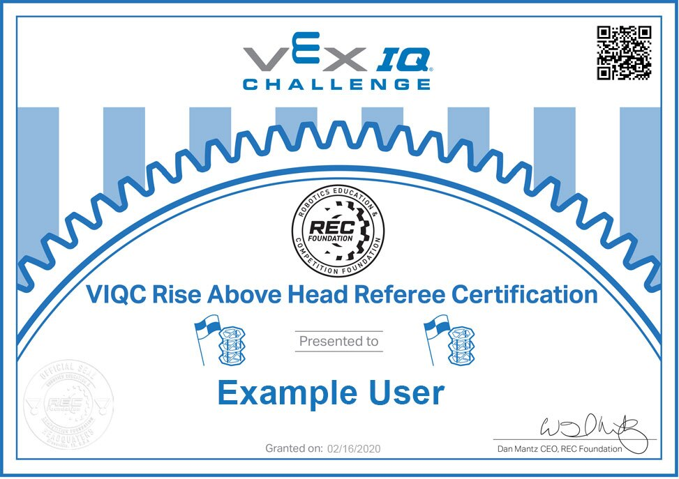 A VIQC Referee Certificate.