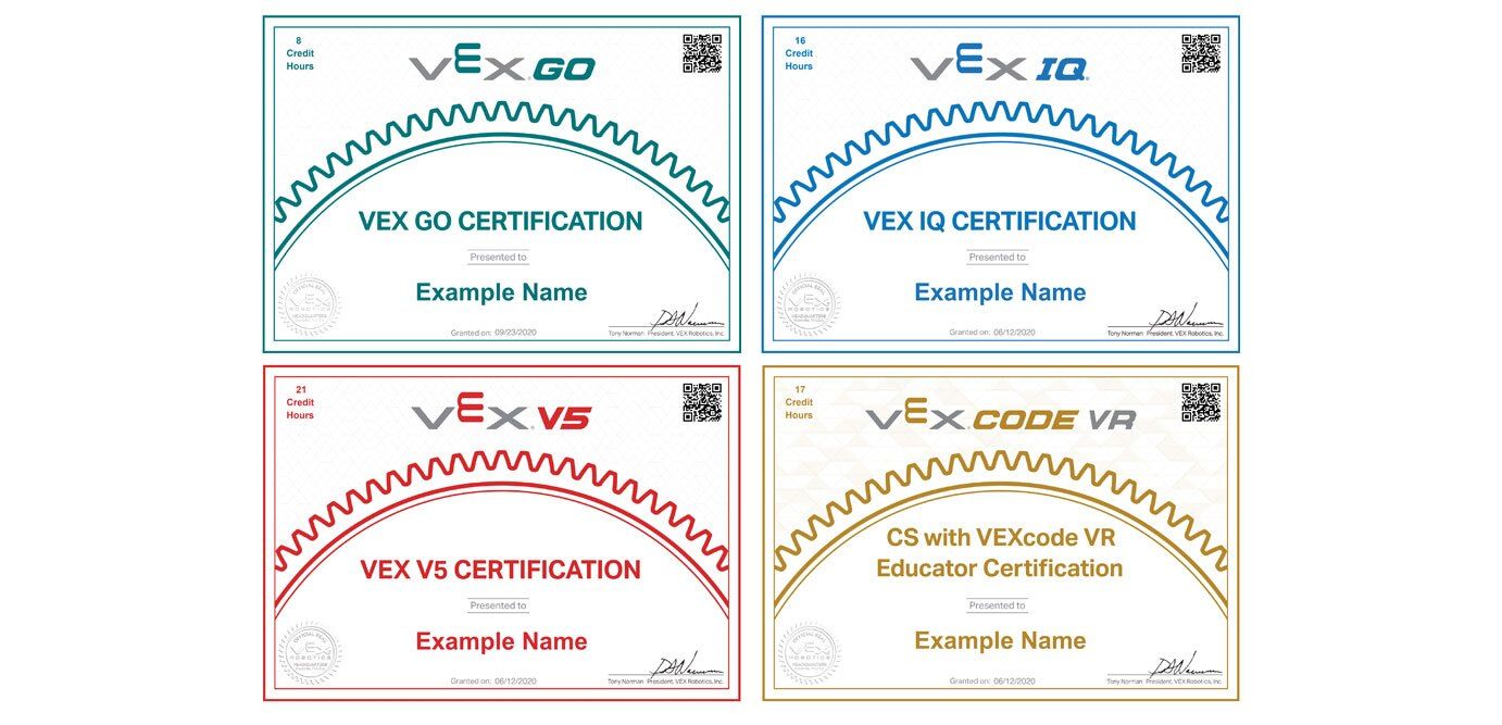 VEX V5, IQ, and VEXcode VR certificates.